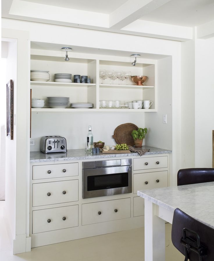 undercounter microwave, open shelving