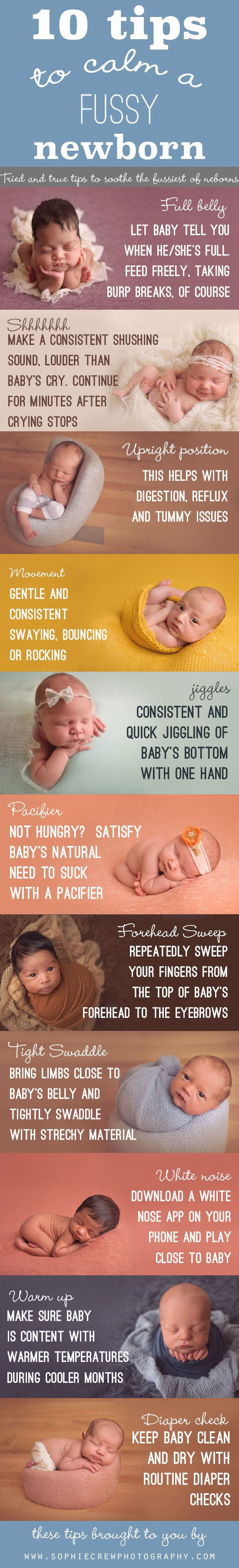 10 Tips to Calm a Fussy Newborn Infographic, Ways to soothe a cranky baby, first time mom tips.