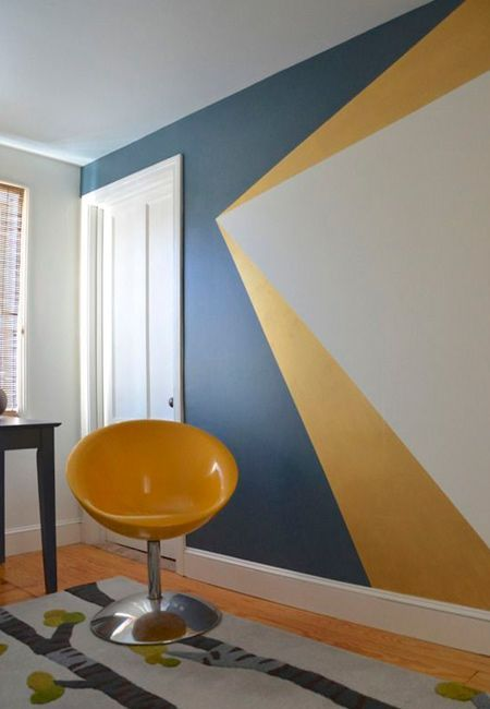 add a personal touch by experimenting with paint to create a striking ffeature wall mask - Interior Design Wall Painting