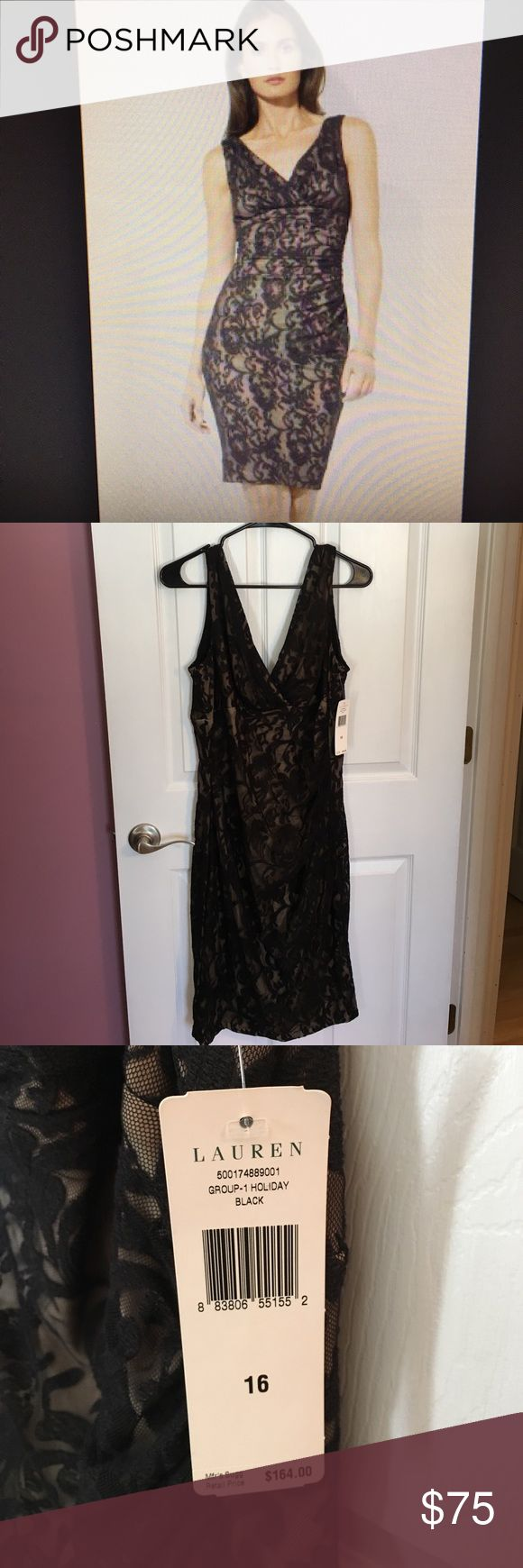 The perfect evening event dress! This dress is beyond beautiful not to mention timeless and classy. Black lace over nude slip keeps it sexy and classy. V neck. Brand new with tags, never worn! No zippers, had some stretch. Straps do have bra holders built in. Some side touching makes a flattering effect. Absolutely gorgeous! My loss your gain! Clean, smoke free home. Lauren Ralph Lauren Dresses