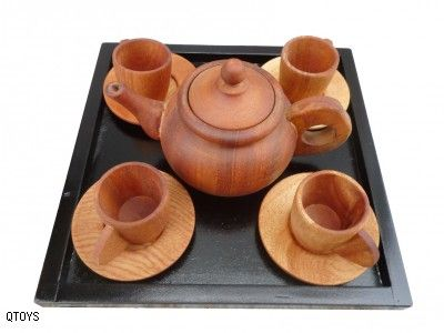 Ethical / Wooden Toys :: Qtoys :: Medium Tea Set With Plates $35