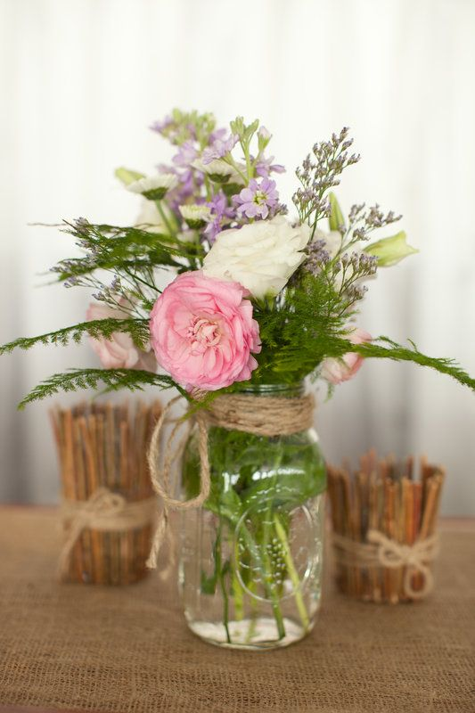 Mason Jar Centerpiece,  DIY Rustic Wedding • Styled Pink Photography