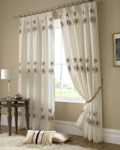 AS, Provencial Floral Embroided Curtains - Black