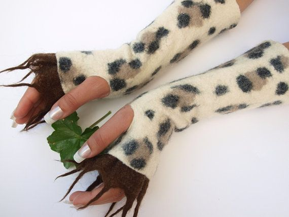 Fingerless gloves Panther hand felted very warm ready by ArtMode