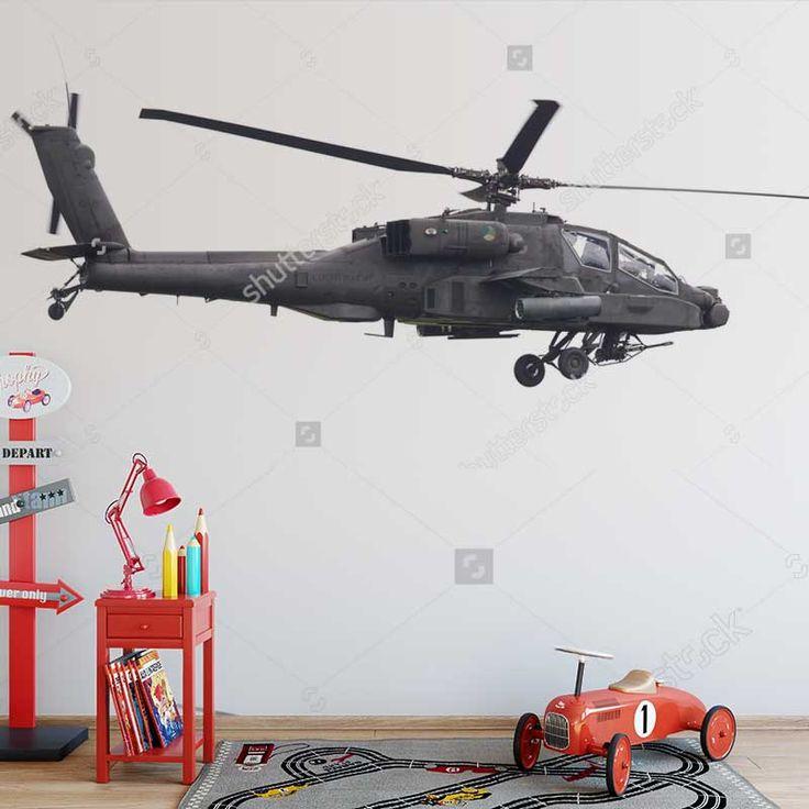 Fotobehang Helicopter apache | Maak het jezelf eenvoudig en bestel fotobehang voorzien van een lijmlaag bij YouPri om zo gemakkelijk jouw woonruimte een nieuwe stijl te geven. Voor het behangen heb je alleen water nodig! #behang #fotobehang #print #opdruk #afbeelding #diy #behangen #jongenskamer #jongen #helikopter #vervoer #voertuig #vliegen #hemel #apache #zwartwit
