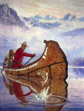 Mounted Policeman and Guide in Canoe - Arnold Friberg
