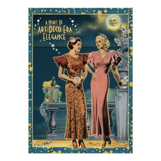 Art Deco Hens Night Invitations, 1930s Party