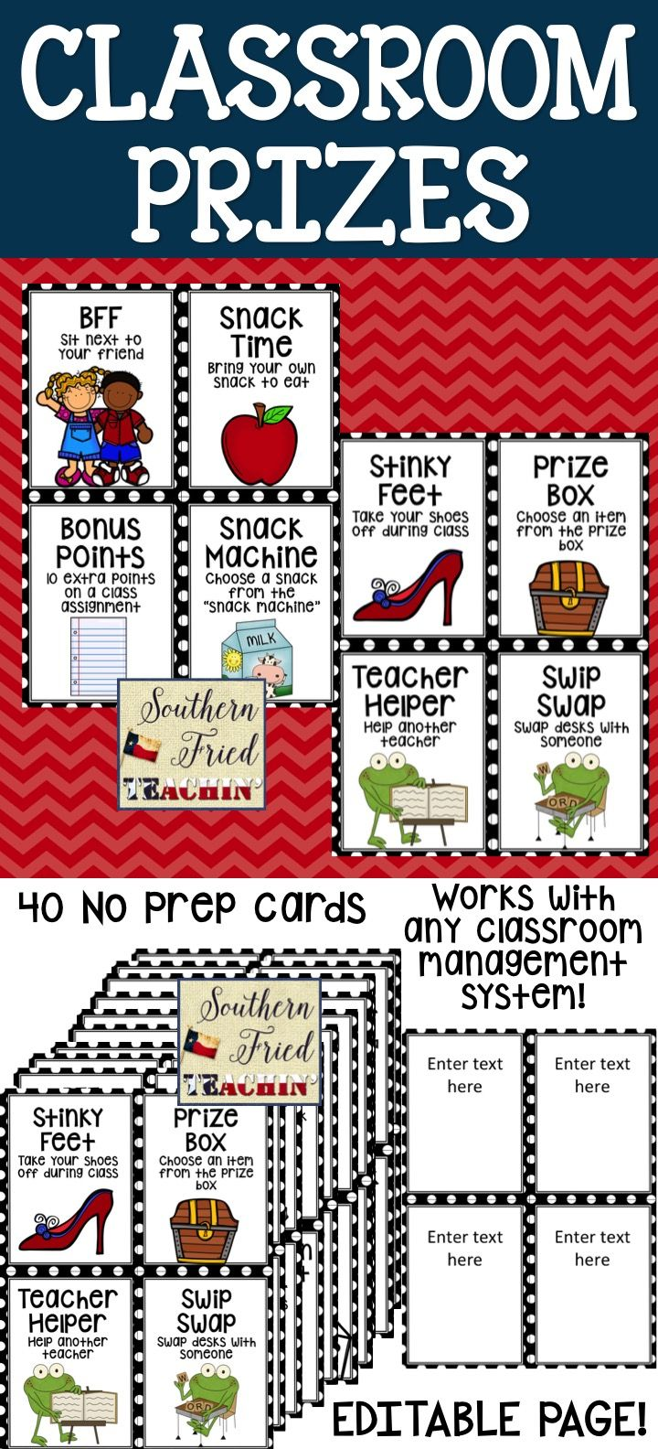 Looking for fun, cute classroom prizes? Especially ones that don't cost any money?  Then these might be what you're looking for! All you have to do is print, laminate, and cut out! Included are 40 classroom prize coupons that can be used for any classroom management system and an EDITABLE page where you can add your own prize, using your own text and clip art.