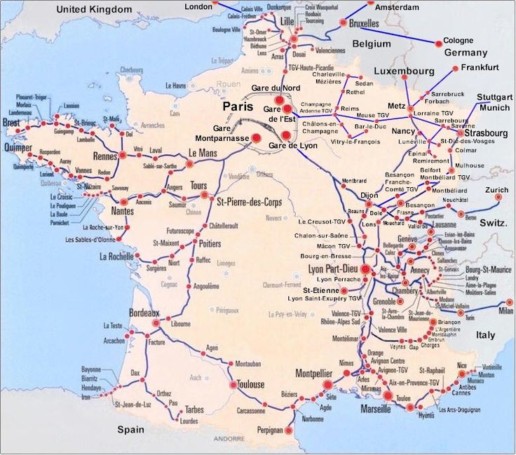 France Train Map of TGV high speed train system with all departures from downtown Paris to the rest of France.