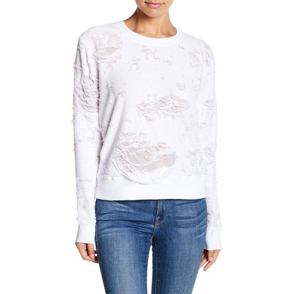 Sweet Romeo Distressed Looped Knit Sweatshirt ($23) ❤ liked on Polyvore featuring tops, hoodies, sweatshirts, white, knit top, long sleeve tops, drop-shoulder tops, destroyed sweatshirt and white boat neck top