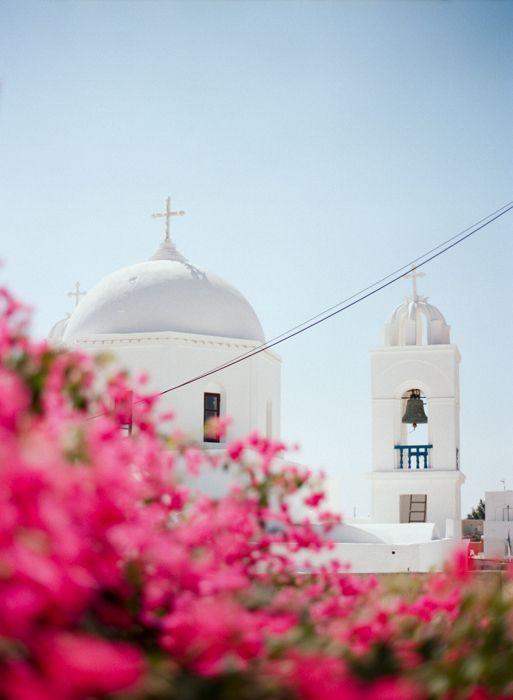 Bougainvillea and a Chapel in Santorini