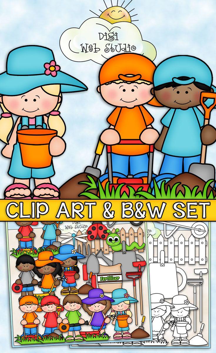 Time For Yard Work Cu Clip Art B W Set Clip Art Thanksgiving Clip Art Father S Day Clip Art