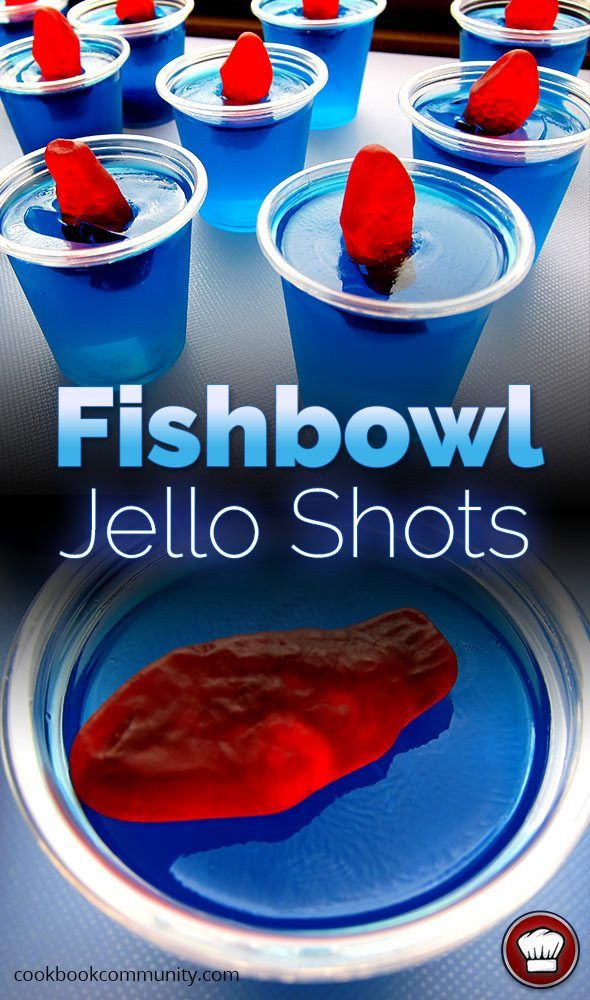 FISHBOWL JELLO SHOTS - Blue Curacao, Vodka, Swedish Fish, Berry Blue Jello