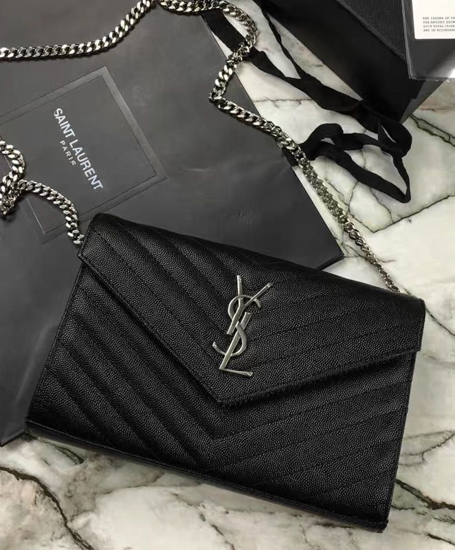 YSL Small Mono Leather Wallet on a Chain Black