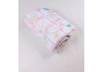 Baby Quilt Blanket Mint Birds Chic - 100% ORGANIC COTTON