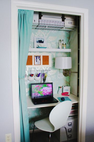 An in home teeny tiny apartment tip - home office in the closet! Love the wallpaper as a gorgeous backdrop