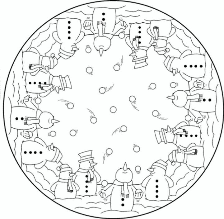 Mandala Snowmen Christmas Coloring pages colouring adult detailed advanced printable Kleuren voor volwassenen coloriage pour adulte anti-stress kleurplaat voor volwassenen Line Art Black and White Santa Noel Peace Gift decoration Toy  Present Elf Ornament Candy Joy Carol Stocking Family