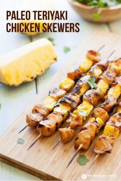 Paleo Teriyaki Chicken Skewers Recipe, sub maple syrup/ACV