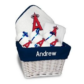 8 best cincinnati reds baby gifts images on pinterest our personalized los angeles angels medium gift basket is a perfect baseball baby gift with 2 burp cloths and a bib personalized with the braves logo negle Image collections