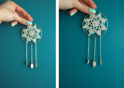 Mini dream catchers. Cheap, easy and fun. Would make pretty earrings or look nice on a necklace.
