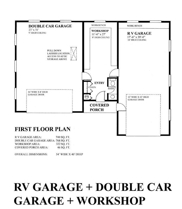 First Floor Plan of Garage Plan 76028