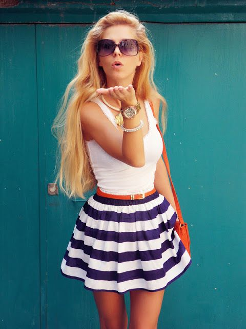 Striped Skirt In Blue And White Colour With Singlet