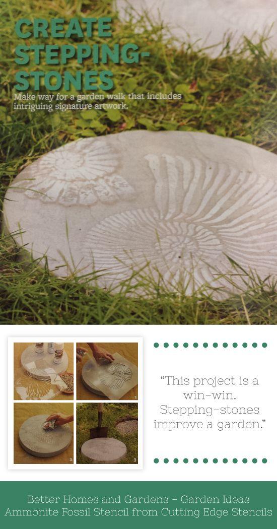 A idéia do jardim DIY usando o Stencil Fóssil da amonite para decorar trampolins.  http://www.cuttingedgestencils.com/wall-stencil-shell.html
