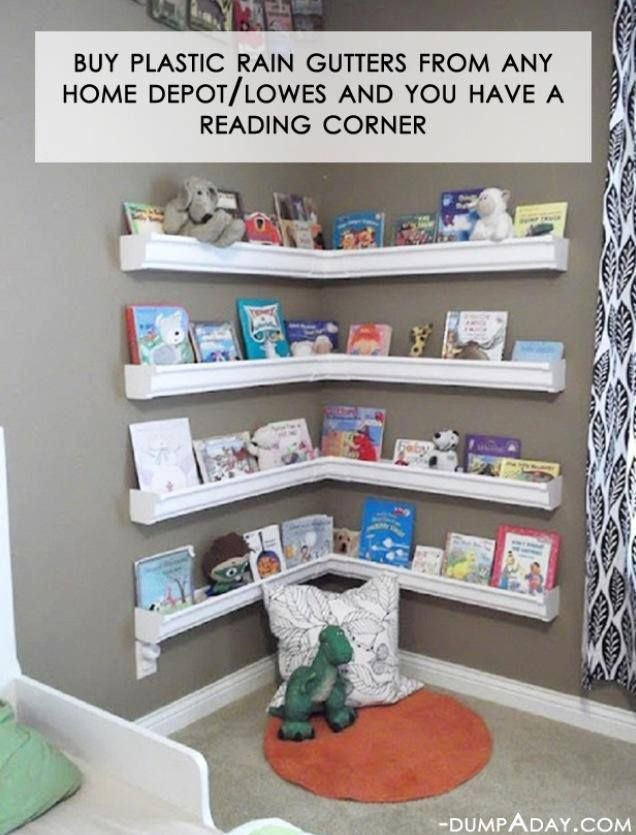 Such a great idea for books on even toys! This would also be good as a wall track system to play with cars or balls if you slanted the gutters.