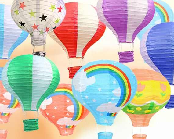 10 Assorted Hot Air Balloon Paper Lanterns (16 inch) - Colorful DIY Wedding, Birthday, Party, Baby Shower, Nursery Decoration by HaloDeLune on Etsy https://www.etsy.com/listing/240300600/10-assorted-hot-air-balloon-paper