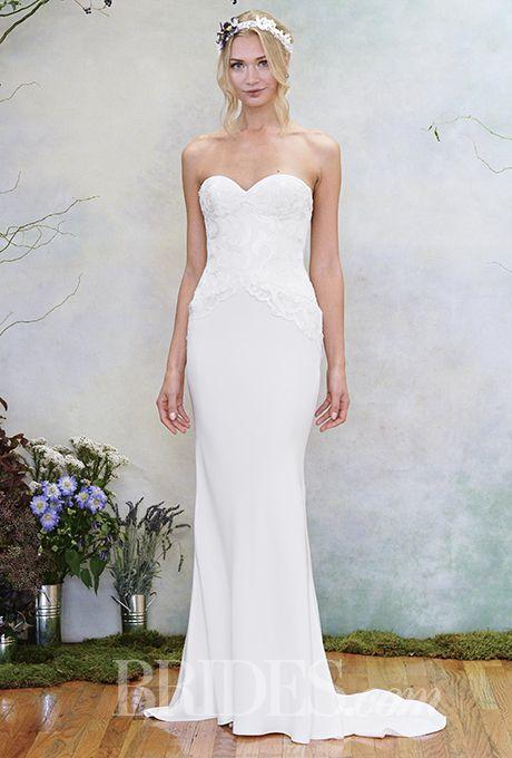 "Brides: Elizabeth Fillmore - Fall 2015. ""Ivy"" sweetheart neck mermaid silk crepe wedding dress, Elizabeth Fillmore"