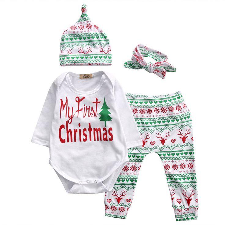 クリスマス赤ちゃん子供女の子男の子ロンパース長袖ツリーロンパーストップ+カジュアル鹿パンツと帽子カチューシャ4 pscsクリスマス服