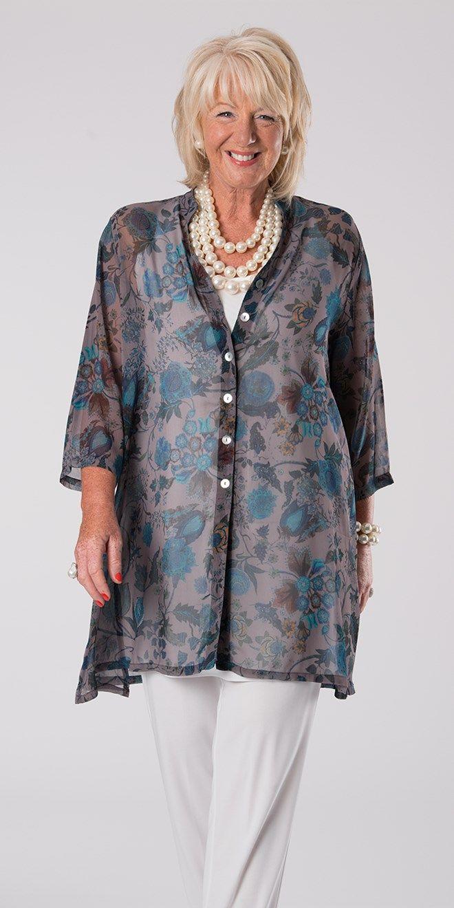 Kasbah stone/teal voile Nehru jacket