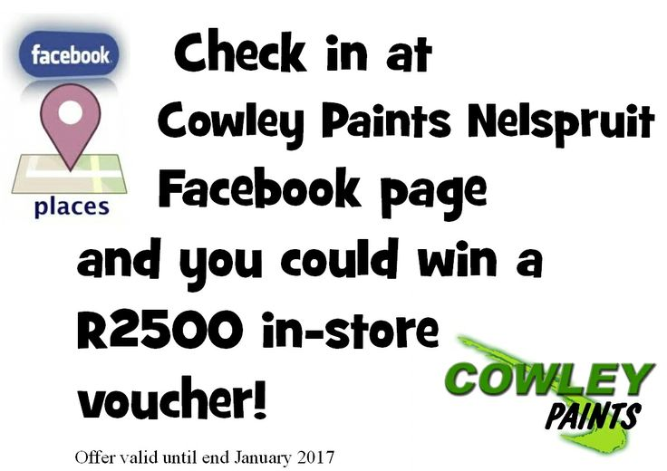 Check In at Cowley Paints Nelspruit And you Could Win