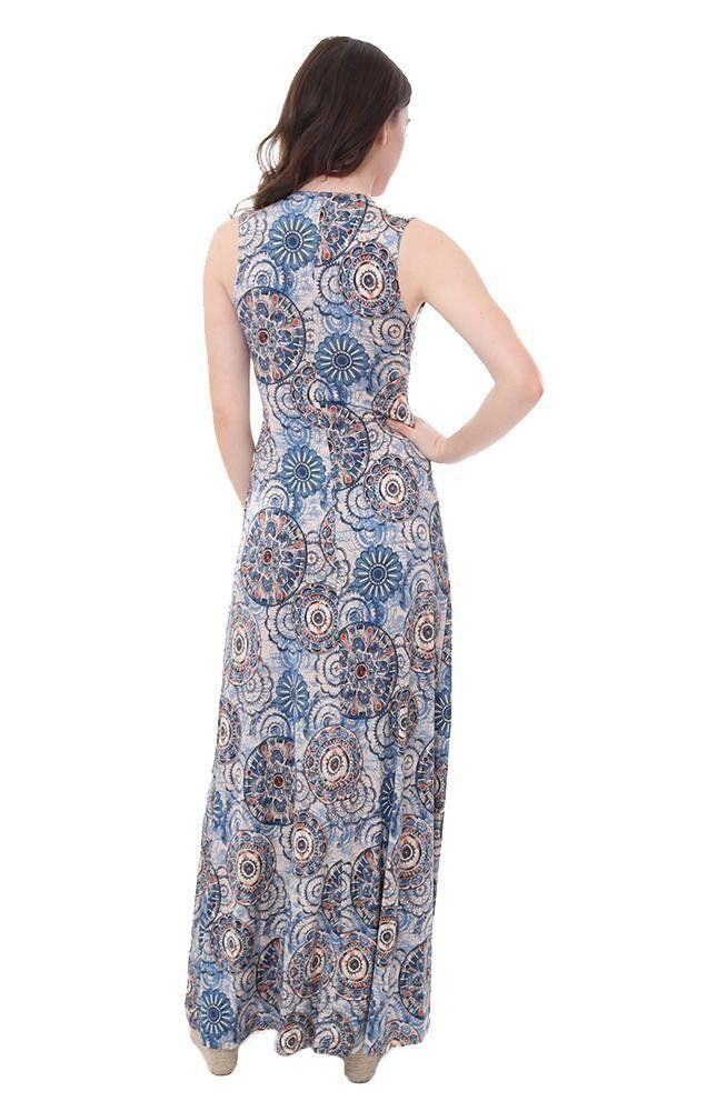 b9de8e41ef Veronica M Dresses V Neck Sleeveless Printed Maxi Blue XS ** Click on the  image for additional details-affiliate link. #dresses