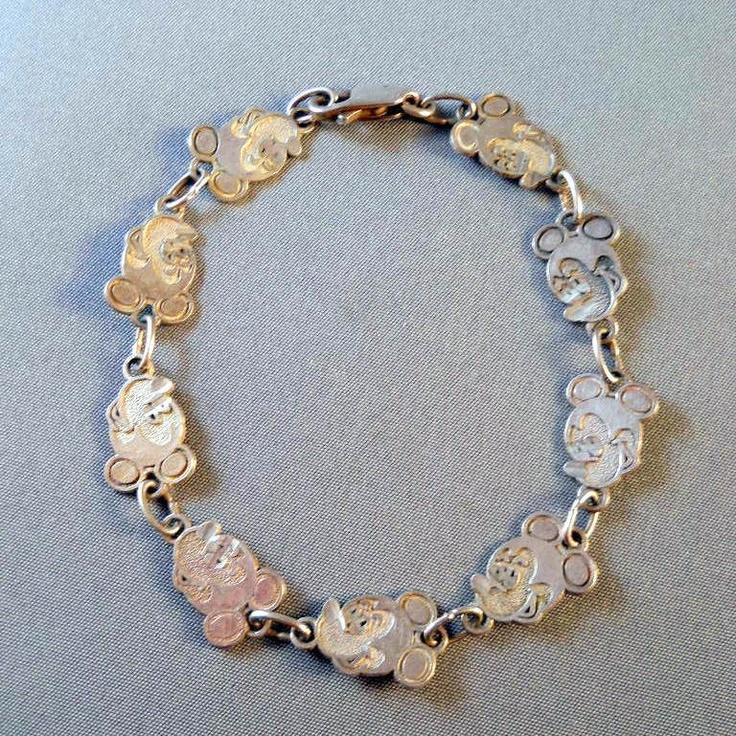 Mickey Mouse Charm Bracelet: Vintage Sterling Mickey Mouse Bracelet