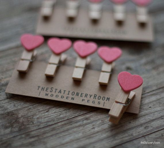 Mini Wooden Pink Heart Shape Pegs for Gift Packaging, Wedding Favours, Handmade Goods - Set of 10 on Etsy, $5.80