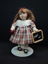 DOLLHOUSE PORCELAIN DOLL/ SCHOOL DAYS DRESSED LITTLE GIRL
