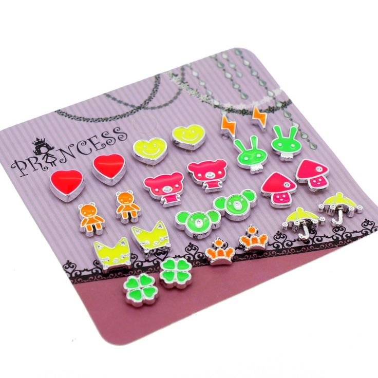 Wholesale Lot Of 12 Pairs Fluorescent Cute Fashion Magnetic Earrings Girls
