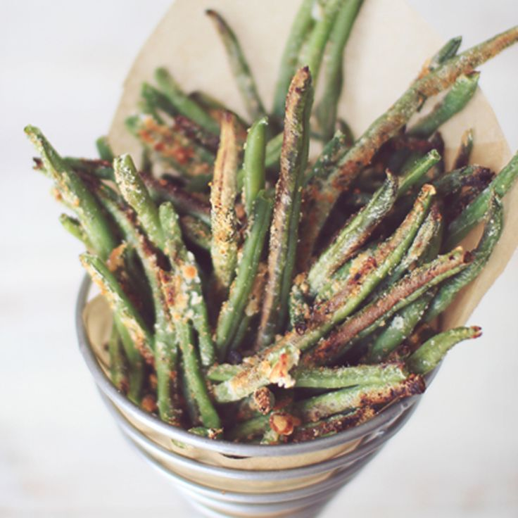 Crispy Baked Parmesan Green Bean Fries | yummy food | Pinterest