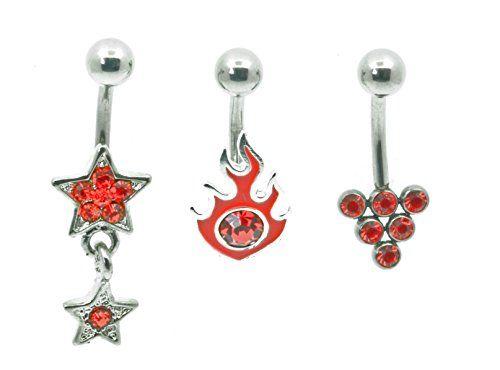 (3 Stück) für Bauchnabelpiercing 316L chirurgischer Stahl, schwer, Dreieck, Star alle rote Edelsteine. - http://schmuckhaus.online/body-jewellery-shack/3-stueck-fuer-bauchnabelpiercing-316l-stahl-star
