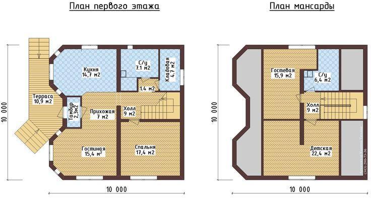 проект дома 10х10 с отличной планировкой 2 этажа с ...