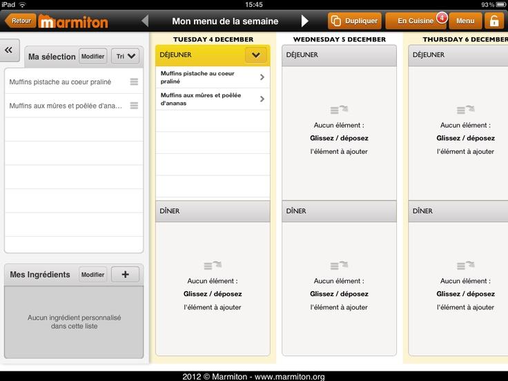 Marmiton - Mon menu de la semaine   * Planificateur de menus (par jours et par repas sur une semaine)
