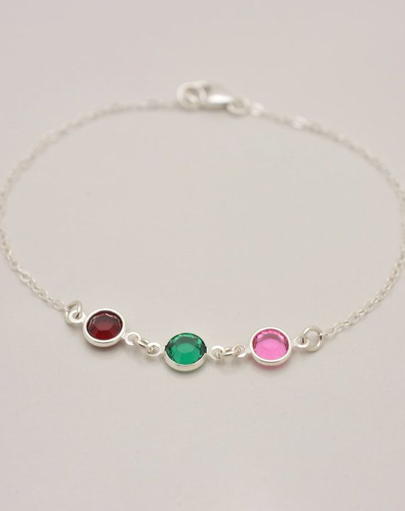 PLEASE NOTE MONTHS AT CHECKOUT: Birthstones will be placed on the bracelet in the order that you note.** This beautiful bracelet makes a wonderful gift for a mother or grandmother. Choose up to 7 different birthstones on your custom-made bracelet. I hand-make this using quality sterling