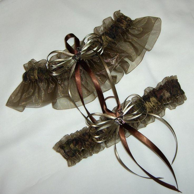 Deer Hunting Camouflage Wedding Garter Set on old willow ( Camo garter ) deer, duck, fish. $26.99, via Etsy.