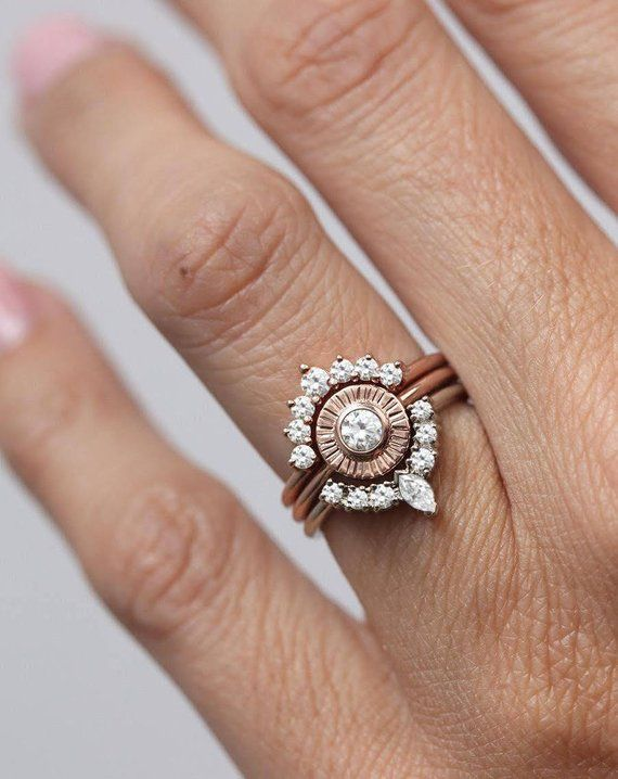 Sunset Ring Set Diamond Sun Ring With Curved Diamond Crown Rings