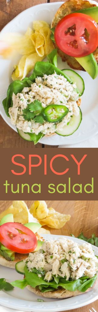 This isn't an ordinary tuna fish sandwich recipe. Spicy Tuna Salad is fresh and bright with crunchy celery, spicy jalapeño, fresh lime and cilantro are just a few of these tuna salad ingredients. Add a few drops of hot sauce to spice it to your tastes. #t