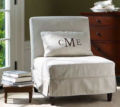 slipper chair slipcover note piping at cushion level - Slipper Chairs