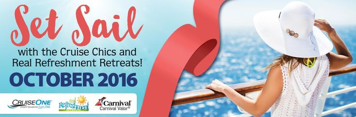 Real Refreshment Retreats Cruise 2016 - Real Refreshment Retreats by Rachael Carman is joining with Cruise Chics to bring you the Thirst No More cruise in October 13-17, 2016. Get ready for lots of fun, food, laughter, and praise as we set sail on a 4-day cruise to the Bahamas. Women in all stages of life will be encouraged to draw near to the Living Water that forever refreshes our soul. Let your spirit be lifted high and your strength renewed! -