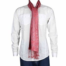 Floral Jacquard Silk Scarf Men Fashion Indian Clothes 14 Inches X 65 Inches