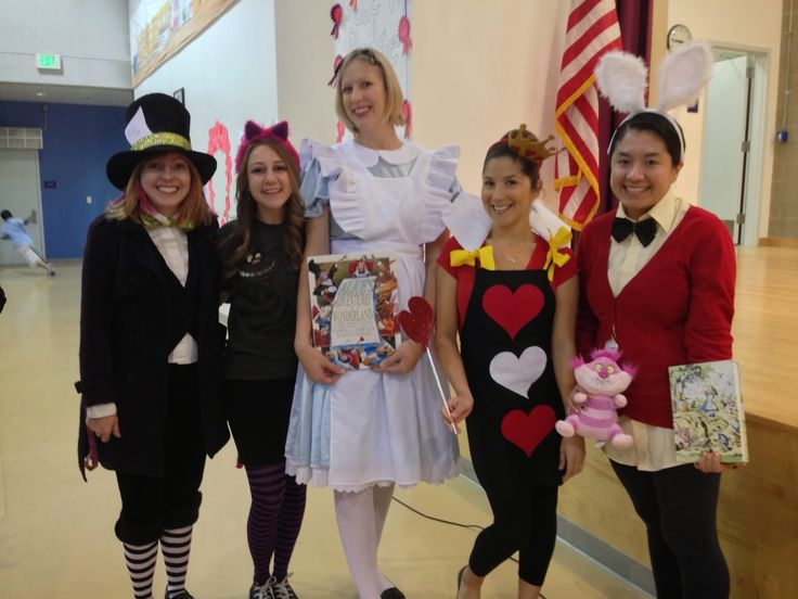 Teacher Ms H ~ Third Is the Word: Book Characters and Halloween Costumes for Teachers. Mad Hatter, Cheshire Cat, Alice in Wonderland, Queen of Hearts, and The White Rabbit. Teacher Costume Ideas